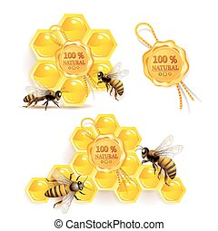 Bees with honeycombs and quality seal isolated on white