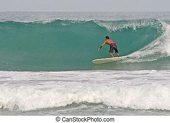beesett, szörfözás, lenget