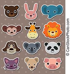 beest gezicht, stickers
