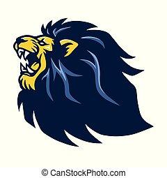 beest, leeuw, vector, logo, gebrul, mascotte