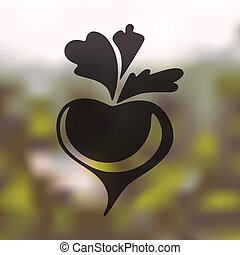 beet icon on blurred background