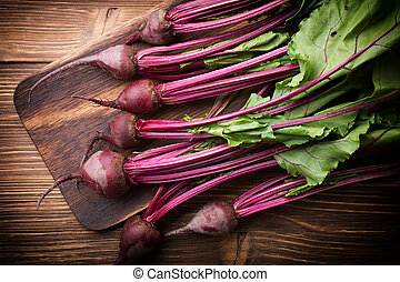 New beets with their foliage. Beet bunch.