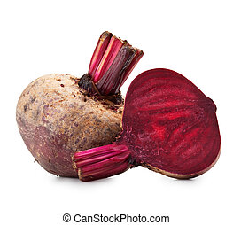 Beet purple vegetable isolated on white background +...