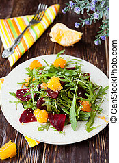 beet salad with arugula and orange