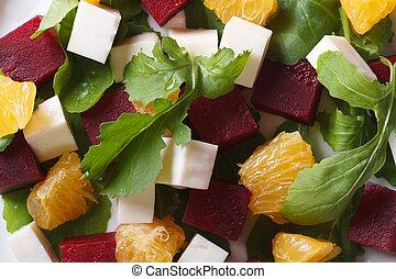 beet salad with oranges, cheese and arugula macro