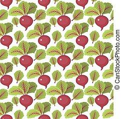 Beet seamless pattern. Beetroot endless background, texture. Vegetable backdrop. Vector illustration.
