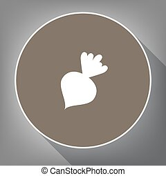 Beet simple sign. Vector. White icon on brown circle with white contour and long shadow at gray background. Like top view on postament.