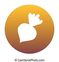 Beet simple sign. White icon in circle with golden gradient as b