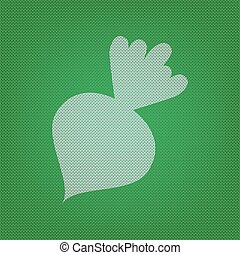 Beet simple sign. white icon on the green knitwear or woolen cloth texture.