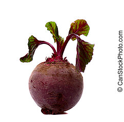 beet  -  single leafy beet  isolated on white