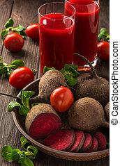 beet-tomato, legno, verdura, scuro, succo, fondo