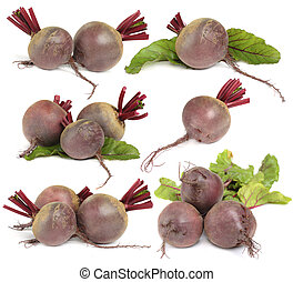 Beet vegetable isolated on white - set