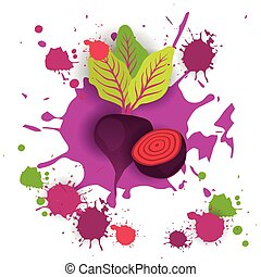 Beet Vegetable Logo Watercolor Splash Design Fresh Natural Food Vector Illustration