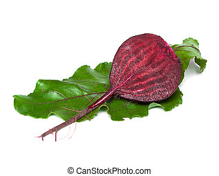 beet with green leaf isolated on white