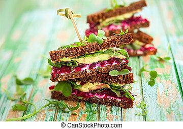 beet,avocado and arugula sandwich - sandwich with...
