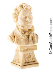 beethoven bust - the bust of Beethoven isolated over a white...