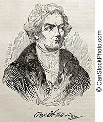 Beethoven - Ludwig van Beethowen old engraved portrait and...