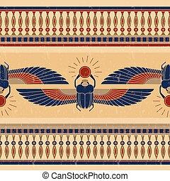 beetle., オオタマオシコガネ, 古代, 悪党, 形態, エジプト, パターン, 横, シンボル, イラスト