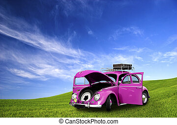 Beetle Car - beautiful beetle car with door\'s open on a...