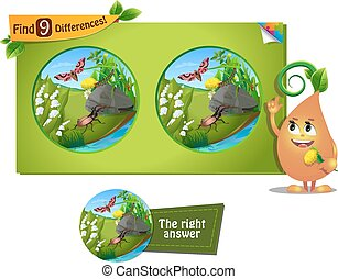 beetle, caterpillar 9 differences - visual game for children...