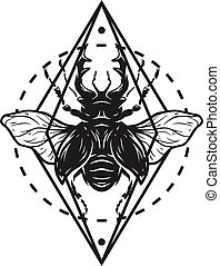Beetle deer and geometric elements. Symbol insect.