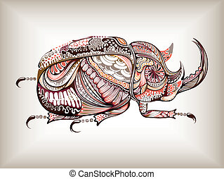 Illustration of abstract design beetle.