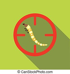 Beetle larvae icon, flat style