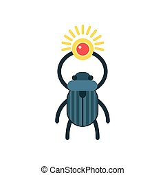 Beetle scarab with sun, symbol of ancient Egypt, traditional Egyptian culture vector Illustration