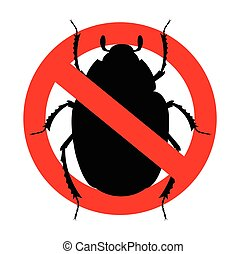 Beetles Prohibited Symbol Vector Illustration