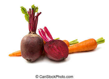 beetroot and carrot isolated