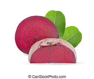 beetroot fruit with leaf an isolated on white background