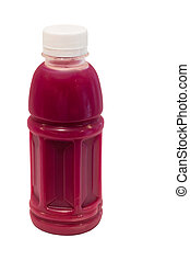 beetroot juice in plastic bottle isolated on white...
