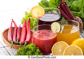 Healthy juice of beetroot, lemon and chilli