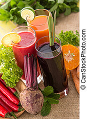 Healthy juice of beetroot, orange and chilli