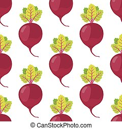 Beetroot seamless pattern. Cartoon flat style. Vegetarian food. Vector illustration