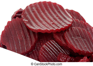 Beetroot slices - Boiled beetroot slices on dishware.