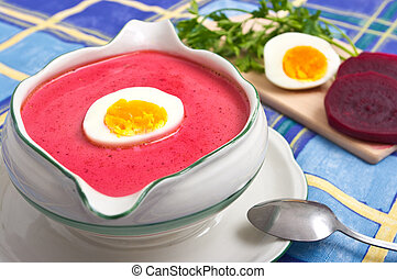 Beetroot soup - Fresh beetroot soup with egg