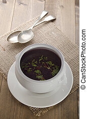 beetroot soup in a bowl