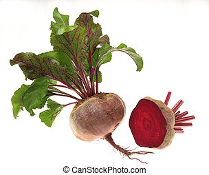beetroot - vegetable with leaves on white background