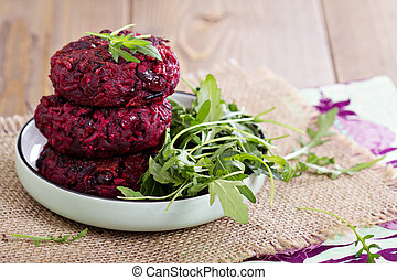 Beetroot vegan burgers with rice and beans - Beetroot vegan...