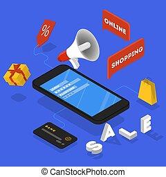 beförderung, in, internet, concept., öffentlichkeit, ankündigung