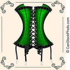 befűz, hölgy, zöld
