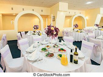 befedett, díszebéd asztal, alatt, esküvő