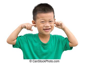 befedett, fiú, ázsiai, fülek