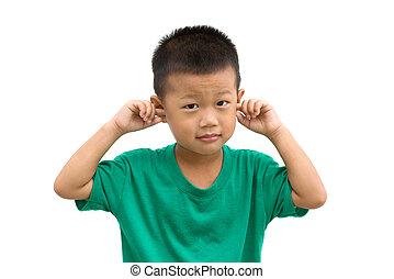 befedett, fiú, övé, ázsiai, fülek