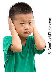 befedett, gyermek, övé, ázsiai, fülek