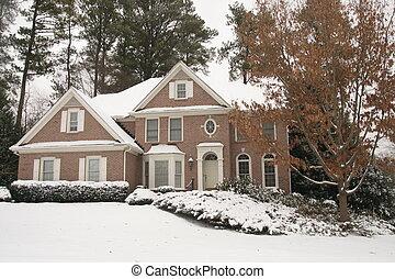 befedett, tégla, hó, épület
