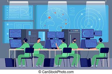 befehl, station, vektor, militaer, center., zimmer, cybersecurity, steuerung, mission., regierung, kontrollieren, ingenieure, abteilung, begriff, sicherheit
