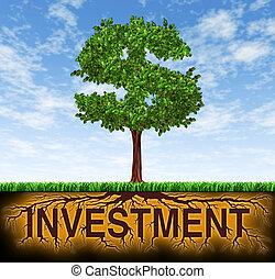 befektetés, és, anyagi növekedés