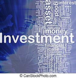 befektetés, háttér, fogalom